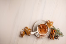 Christmas Background. Cocoa With Christmas Cookies On A White Background.