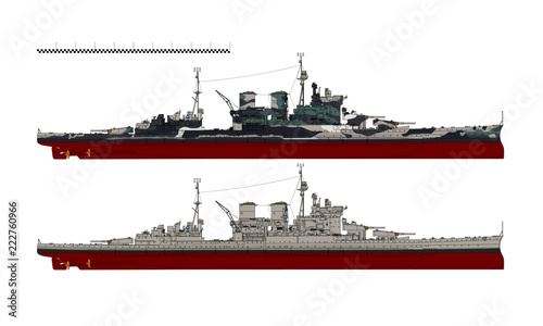Canvas Battlecruiser of the Royal Navy. HMS Renown. Illustration.