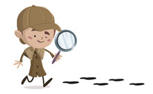Niño Detective Siguiendo Unas...