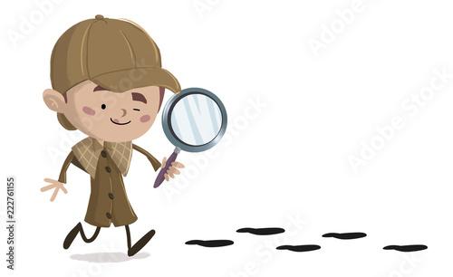 Tablou Canvas niño detective siguiendo unas huellas