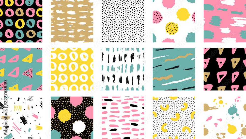 Fototapeta Trendy vector seamless colorful pattern with brush strokes.  Vector illustration