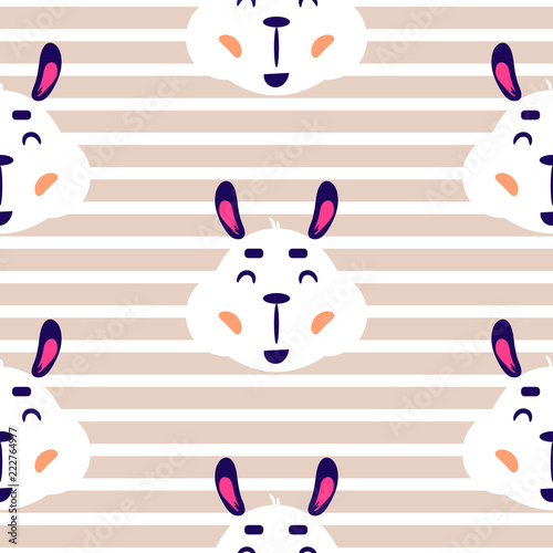 9c1d5c8c10f45 Cheerful lama baby vector beige striped seamless repeat pattern. Cute funny  alpaca face on baby neutral background for apparel print and fabric.