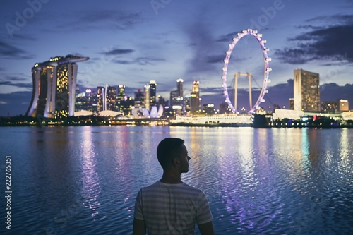 Tuinposter Aziatische Plekken Singapore at dusk
