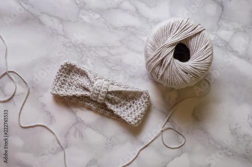 Valokuva Crochet headband in the making, with steel crochet hook