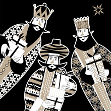 Three Biblical Kings: Caspar, Melchior And Balthazar. Three Wise Men With Gift Boxes. Black And White.