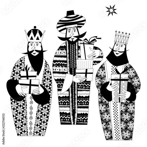 Photographie Three biblical Kings: Caspar, Melchior and Balthazar