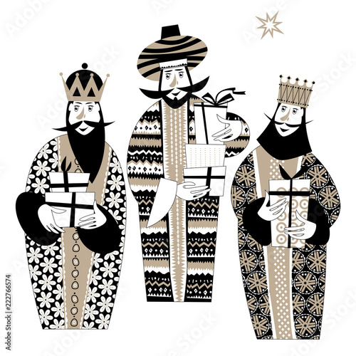 Valokuvatapetti Three biblical Kings: Caspar, Melchior and Balthazar