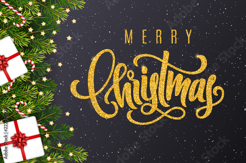 Christmas Gift Card Poster.Holiday Gift Card With Golden Hand Lettering Merry Christmas