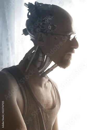 Contemplative cyborg at window, photo manipulation Canvas Print