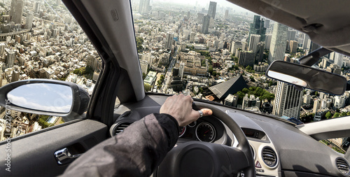 driving a flying car to bypass traffic, photo manipulation