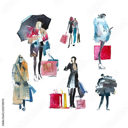 Hand drawn watercolor people with shopping bags. Fashion, sale, autumn. Wall mural