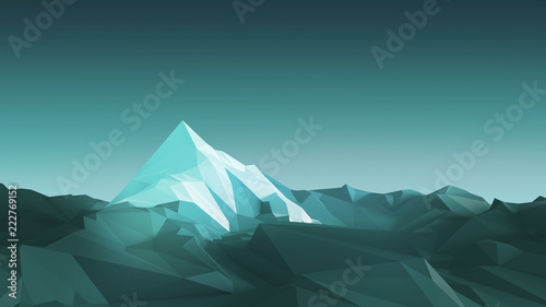 Poster Prune Low-poly image of a mountain with a white glacier at the top. 3d illustration