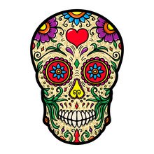 Illustration Of Mexican Sugar Skull Isolated On White Background. Design Element For Poster, Card, T Shirt.