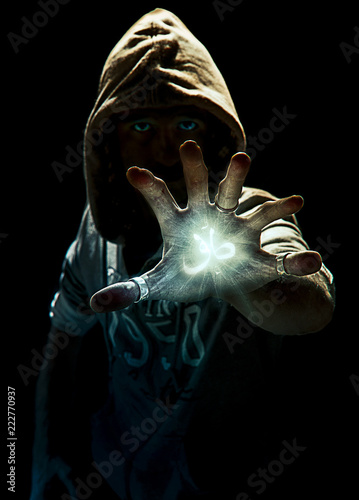 Magic spell's wizard with six fingers, photo manipulation Canvas Print