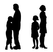 Divorcing Parents With Two Sad Unhappy Children