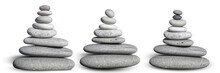 Isolated Cairn, Pebble Balance Spa Concept, Side View Close-up, Decoration For Spa Design