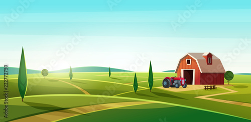 Fotobehang Turkoois Colorful countryside landscape with a barn and tractor on the hill. Rural location. Cartoon modern vector illustration