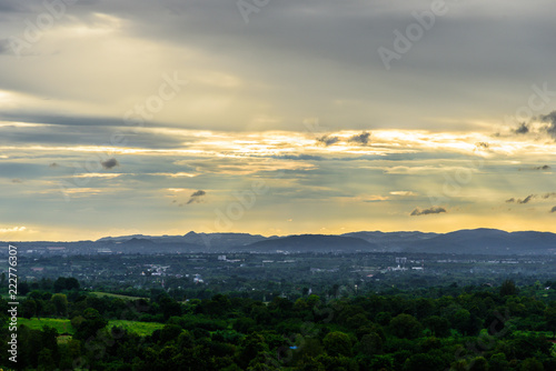 Foto op Canvas Zwart Landscape of cloudy, mountain and forest with sunset in the evening from top view.