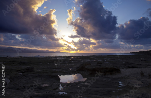 Poster Canarische Eilanden sunset at El Confital
