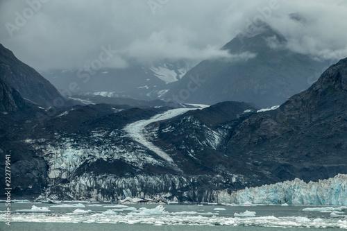 Vászonkép Icebergs near Columbia glacier under the clouds, Alaska