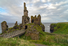 Castle Sinclair Girnigoe From Sinclair`s Bay. The Medieval And Renaissance Fortress Is The Most Spectacular Ruin In The North Of Scotland, In The Highlands Near Wick And Caithness