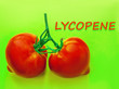 canvas print picture - the inscription is lycopene. on the background of tomato fruit. pigment antioxidants, beneficial to health.