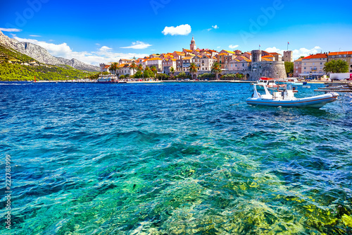 Fotografie, Obraz  Seafront view at Korcula old town, historic island and travel european destinati
