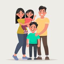 Asian Happy Family. Dad, Mom, ...