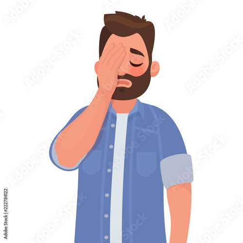 Cuadros en Lienzo Man with a gestures facepalm. Headache, disappointment or shame