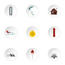 Winter Holidays Icons Set. Flat Illustration Of 9 Winter Holidays Vector Icons For Web