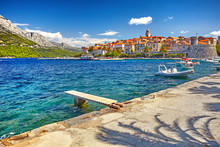 View At Old Town Center In Korcula, Popular Touristic Destination In Mediterranean, Croatia Europe