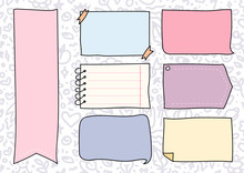 Set Of Cute Hand Drawn Doodle Banners And Ribbons Isolated On White Background For Your Design. Bullet Journal Ideas. Girly Stuff. Sticky Notes.