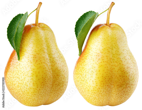 Set of red yellow pear fruits with green leaf isolated on white with clipping path