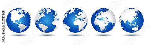 Fototapeta 3D Globes with World Maps - vector for stock obraz