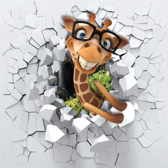 3d background, little giraffe peeping from a broken wall. 3D wall looks very lovely and also brings different colors to room! It will visually expand children's room, become an accent in the interior