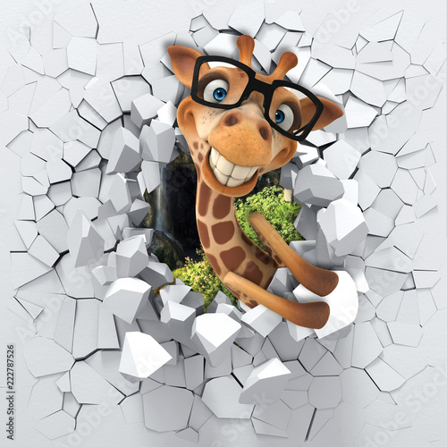 Naklejki żyrafa  3d-background-little-giraffe-peeping-from-a-broken-wall-3d-wall-looks-very-lovely-and-also-brings-different-colors-to-room-it-will-visually-expand-children-s-room-become-an-accent-in-the-interior