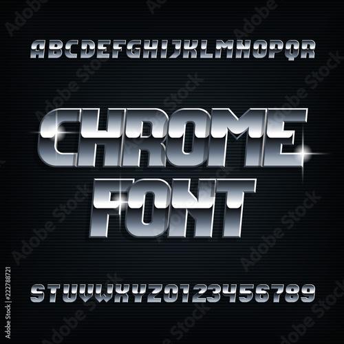 Stampa su Tela Beveled chrome alphabet font