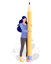 Man Hold Big Pencil. Writer Vector Illustration.