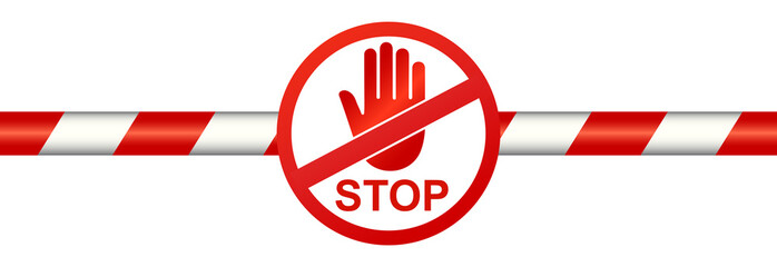 Warning line with stop sign - stock vector