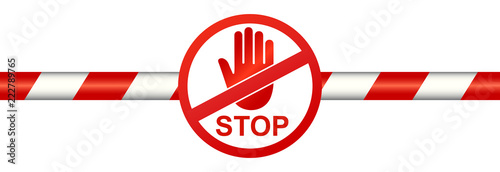 Fototapeta Warning line with stop sign - stock vector