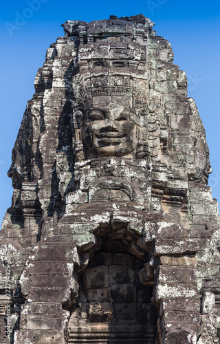 Photo sur Aluminium Monument Ancient Bayon castle, Angkor Thom, Cambodia. Vintage.