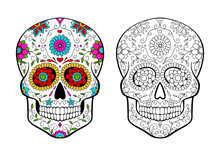 Set Of Sugar Skulls Coloring Page