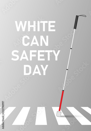 Photo  White cane safety day concept banner