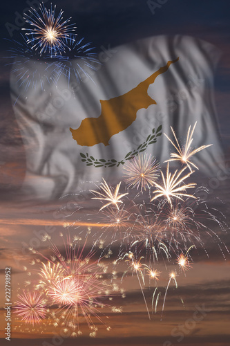Fireworks and flag of Cyprus