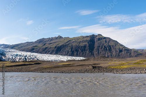 River Holmsa, Glacier Flaajokull and mountain and Flafjall mountain in south Iceland