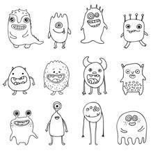 Set Of Cute Doodle Monsters
