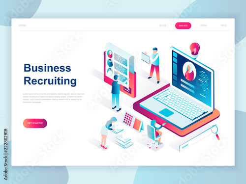 Fotografía  Modern flat design isometric concept of Business Recruiting for banner and website
