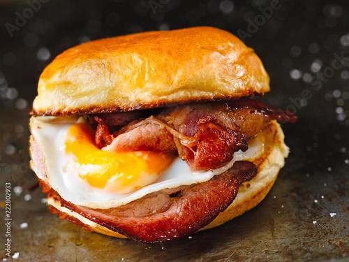 rustic bacon egg breakfast sandwich bun