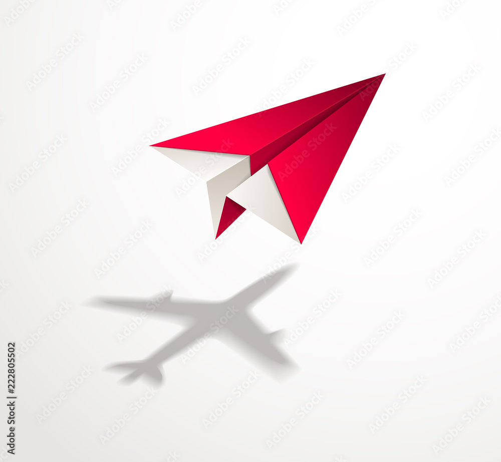 Fototapeta Paper plane casting shadow of jet airliner, origami folded toy plane 3d realistic vector illustration. Vision and aspiration dream concept, airlines, air travel, business vision idea, travel by air.