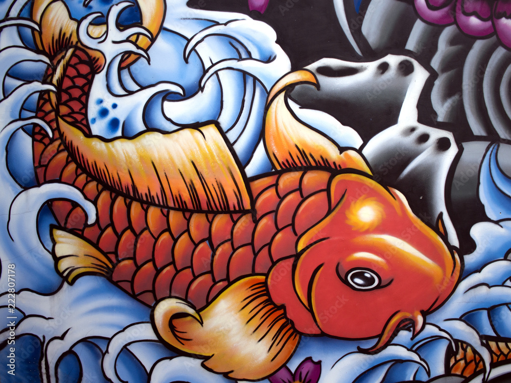 Abstract colored pattern on the wall with elements of red (orange) fish in blue-gray waves. Graffiti. <span>plik: #222807178 | autor: Maryna</span>